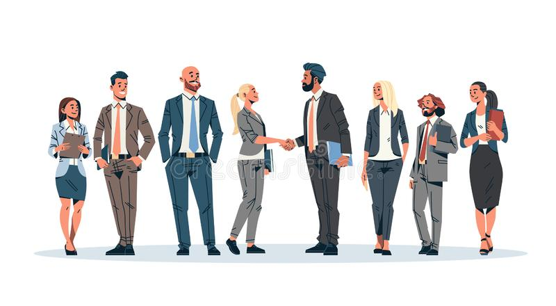 Business people group hand shake agreement communicating concept businessmen women team leader meeting male female. Cartoon character isolated full length vector illustration