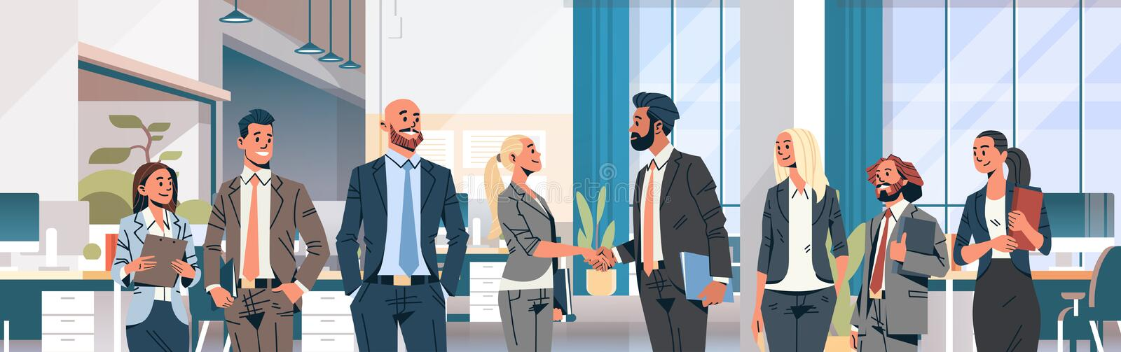Business people group hand shake agreement communicating concept modern coworking office interior men women partnership. Male female cartoon character portrait vector illustration