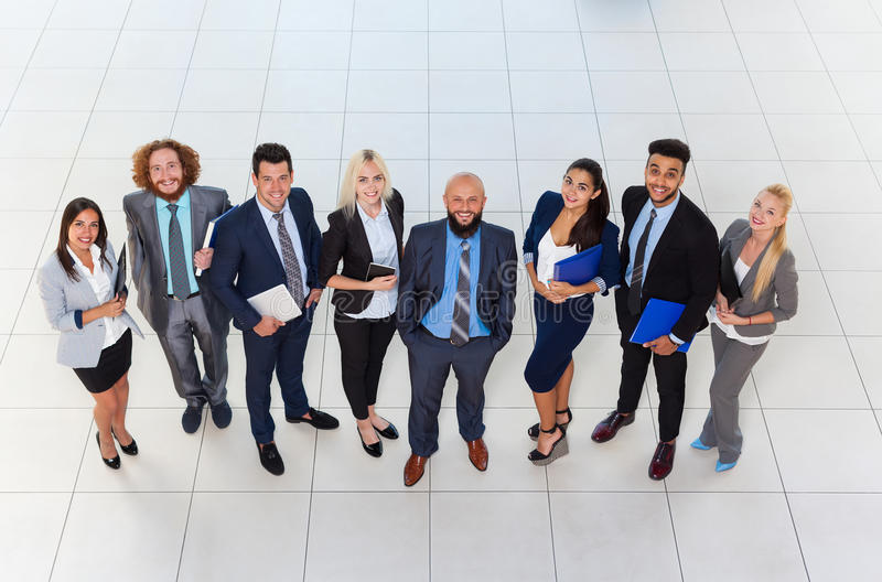 Business People Group Happy Smile Standing At Modern Office Top View, Businesspeople In Row royalty free stock photography
