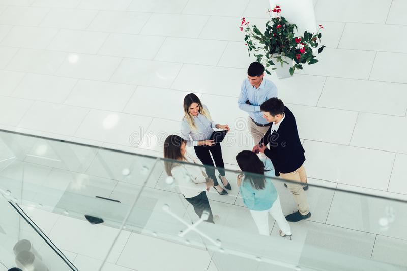 Business People Group Happy Smile Standing At Modern Office Top View royalty free stock image