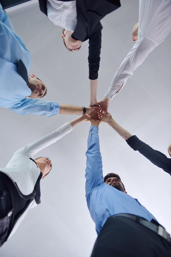 Business people group joining hands royalty free stock images