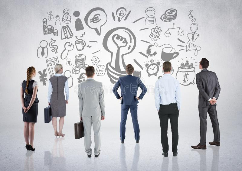 Business people group looking at business graphic drawings stock illustration