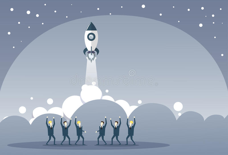 Business People Group Looking At Launching Space Ship New Stratup Strategy Development Concept royalty free illustration