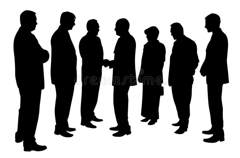 Business people group at a meeting shaking hands. Illustration silhouette of a business people group at a meeting shaking hands. Isolated white background. EPS royalty free illustration