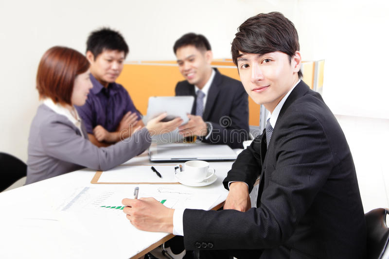 Download Business People Group Meeting With Touchpad Royalty Free Stock Photo - Image: 32136575