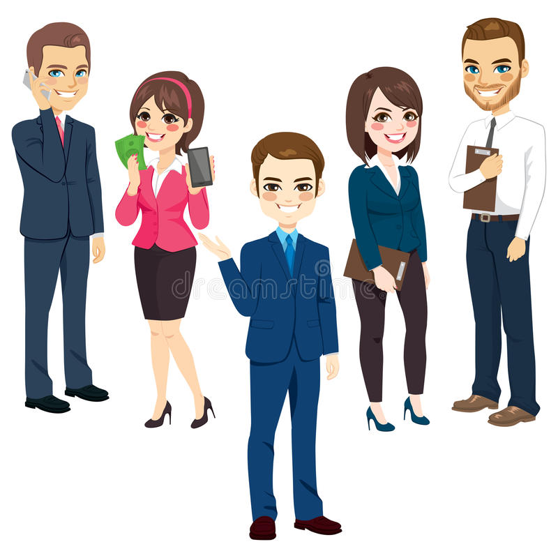 Business People. Group of men and women business people standing team concept stock illustration