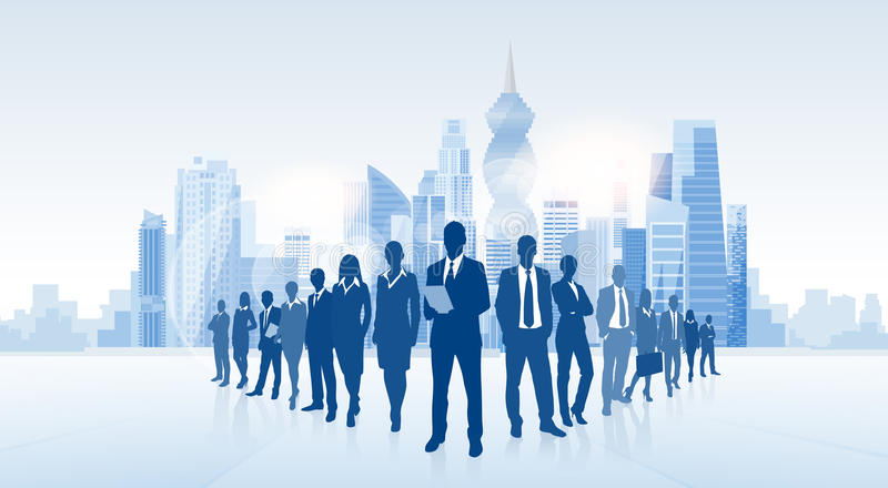 Business People Group Panama City Silhouette Skyscraper. Cityscape Background Skyline Vector Illustration royalty free illustration