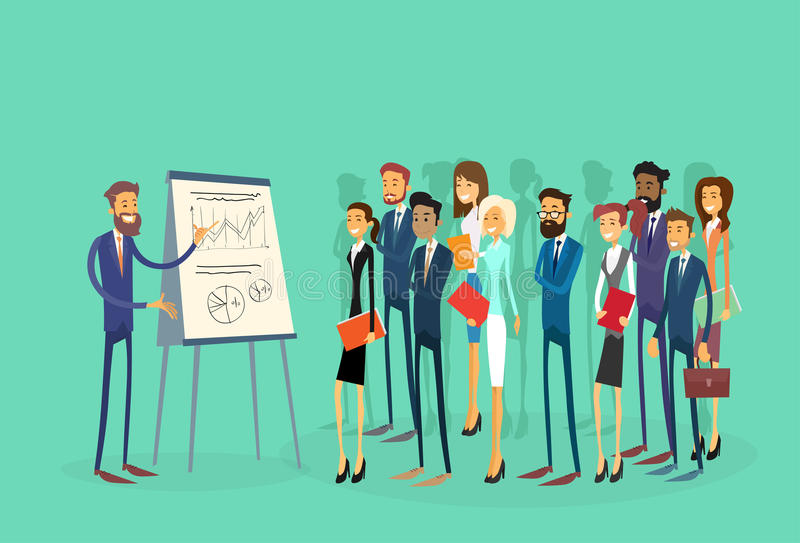 Business People Group Presentation Flip Chart. Finance, Businesspeople Team Training Conference Meeting Flat Vector Illustration