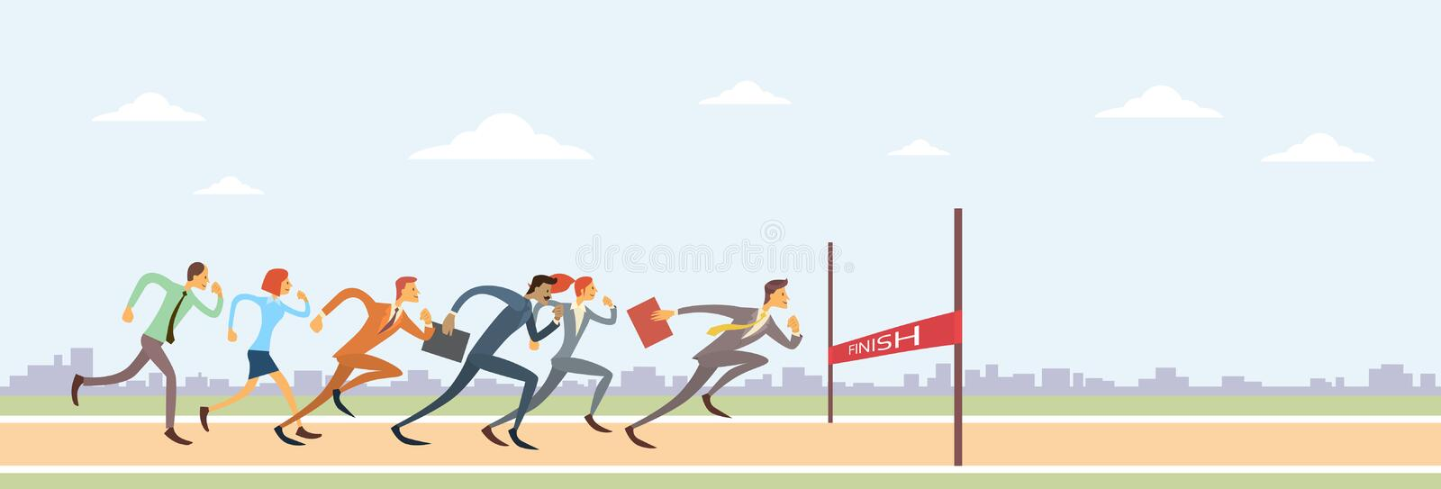 Business People Group Run To Finish Line Team Leader Competition vector illustration