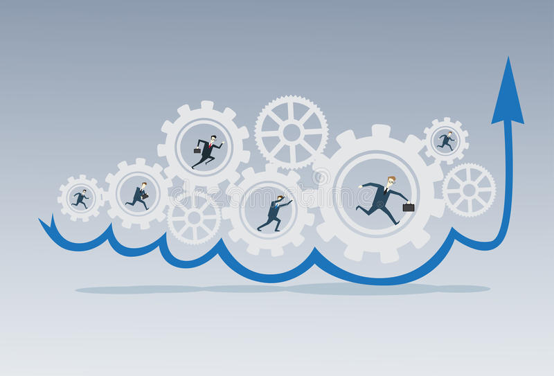Business People Group Running In Cog Wheel Work Together Brainstorming Process Strategy Concept. Flat Vector Illustration royalty free illustration