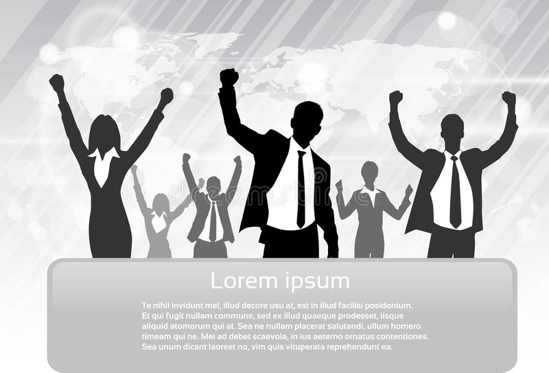 Business People Group Silhouette Excited Hold royalty free illustration