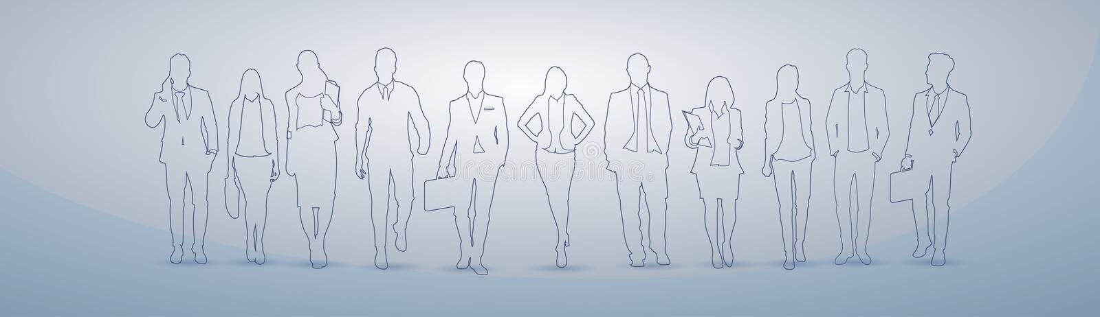 Business People Group Silhouette Executives Team Businesspeople Teamwork Concept stock illustration