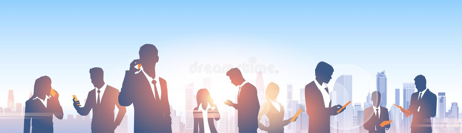 Business People Group Silhouettes Over City Landscape Modern Office Social Network. Communication Vector Illustration royalty free illustration