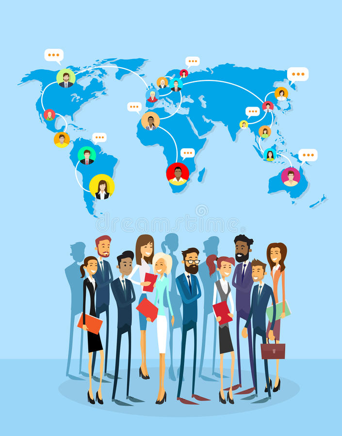 Business People Group Social Network Communication Concept World Map Coworking. Flat Vector Illustration vector illustration