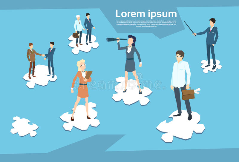 Business People Group Standing on Puzzle Piece Businesspeople Team Teamwork Concept vector illustration