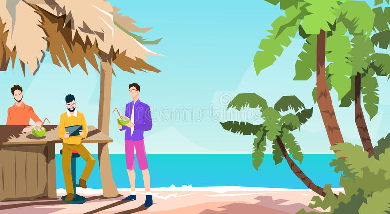 Business People Group Tropical Bar Businessman Using Tablet Beach Summer Vacation Island. Flat Vector Illustration vector illustration