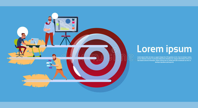 Business People Group Working Over Big Target, Company Team Business Goal Concept Banner With Copy Space. Flat Vector Illustration royalty free illustration