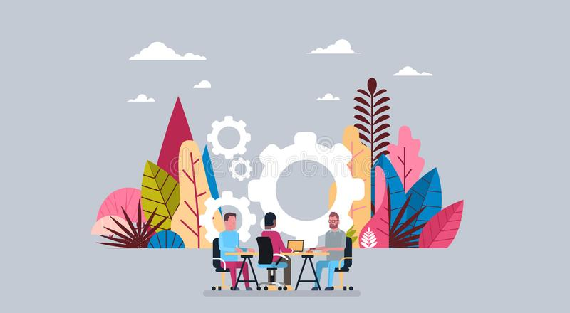 Business people group working together wheel gear interview sit at office desk , mix race businessman processing concept. Background flat vector illustration stock illustration