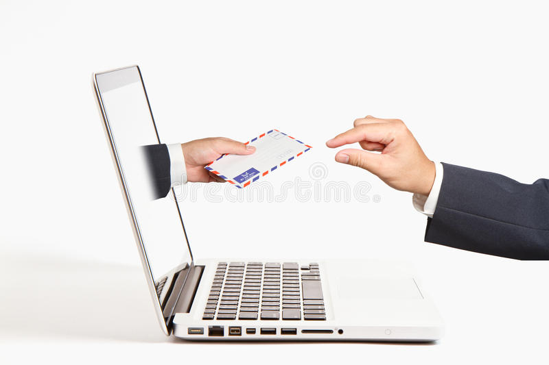 A business people hand holding air mail royalty free stock photos