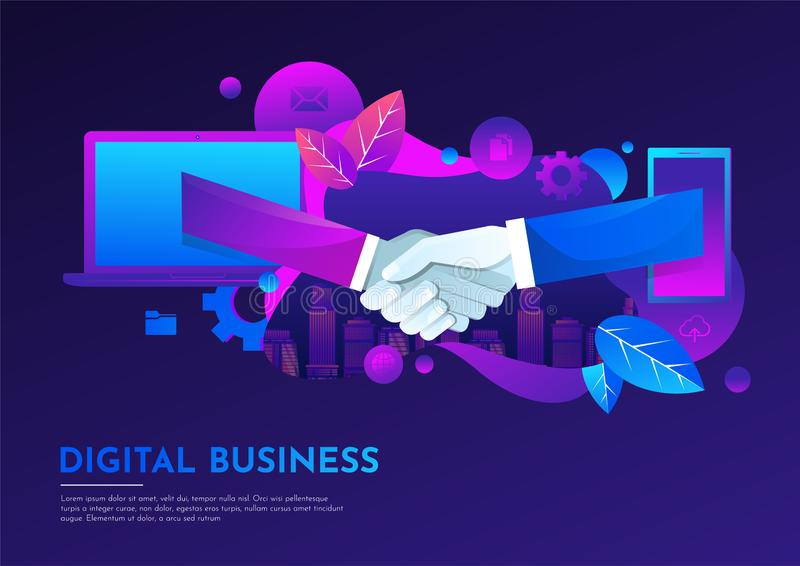 Business People Hand Shake Virtual Meeting Digital though mobile and notebook Flat Vector Illustration. royalty free illustration