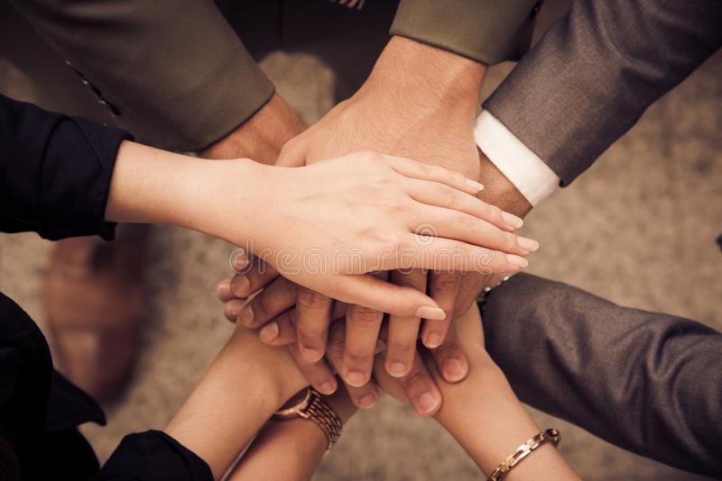 Business people Hands Assemble Corporate in Meeting and Teamwork concept. Group of teamwork and cooperation theme. together. Teamwork stock photo