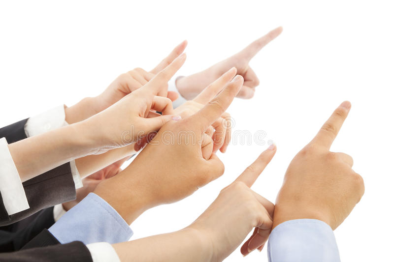 Business people hands showing the same direction. Over white background stock photos