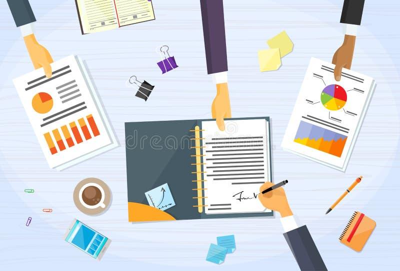 Business People Hands Signature Financial Paper. Group Businessmen Pen Sign Up Document Desk Vector Illustration vector illustration