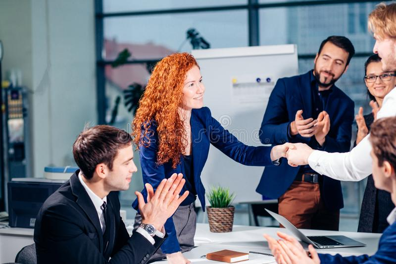 Business People Handshake Greeting Deal Concept. Business People Handshake Greeting Deal and Agreement Concept royalty free stock photos