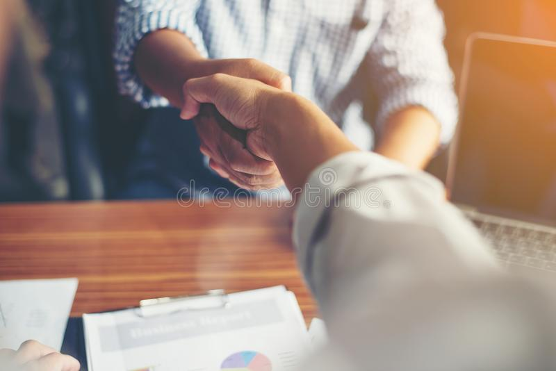 Business People Handshake Greeting Deal at work. royalty free stock photo