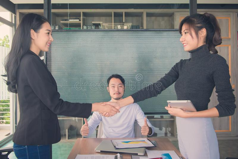 Business people handshake at meeting or negotiation in the office, Business partnership meeting concept royalty free stock photos