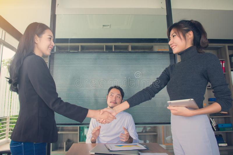 Business people handshake at meeting or negotiation in the office, Business partnership meeting concept royalty free stock photography