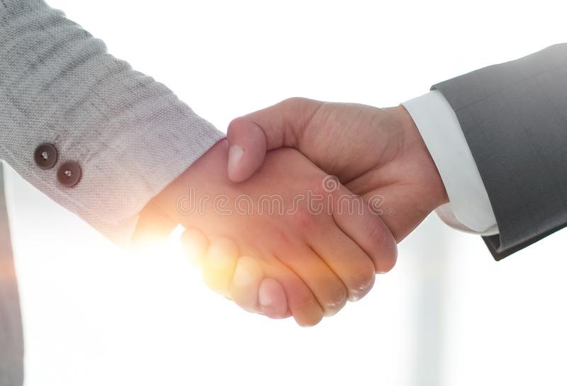 Business people shaking hands isolated on white background. Business people handshake in modern office. Greeting deal concept royalty free stock photos
