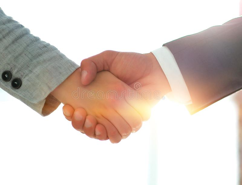 Business people shaking hands isolated on white background. Business people handshake in modern office. Greeting deal concept royalty free stock image