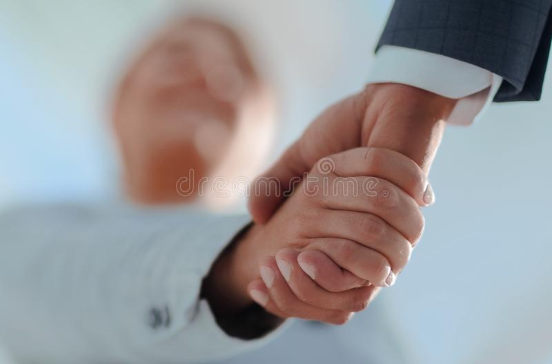Business people shaking hands isolated on white background. Business people handshake in modern office. Greeting deal concept stock image