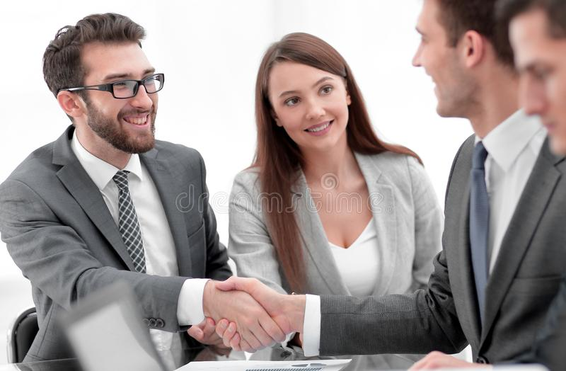 Business people handshake after negotiations.  royalty free stock images