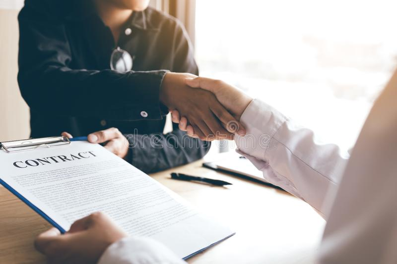 Business people handshake after talking about contract signing. royalty free stock images