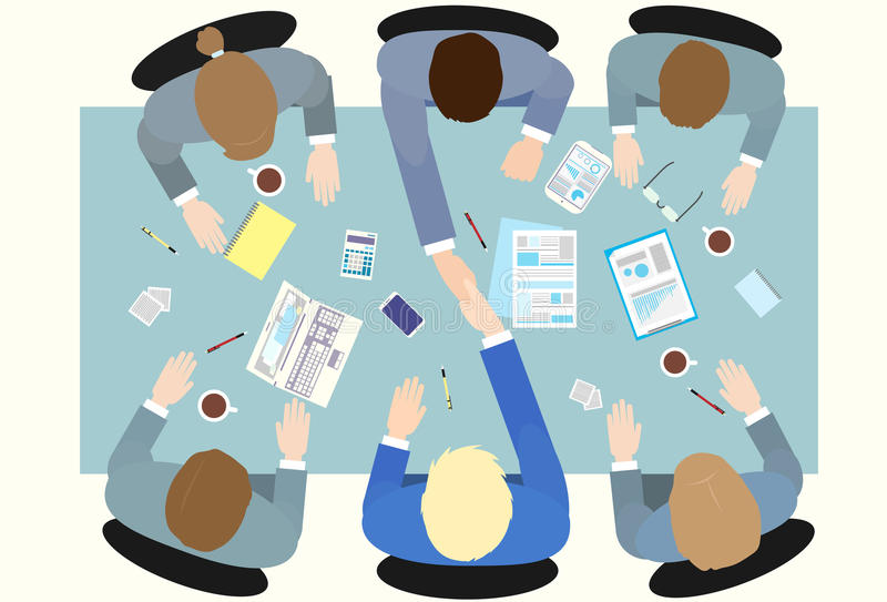 Business people handshake top angle view royalty free illustration