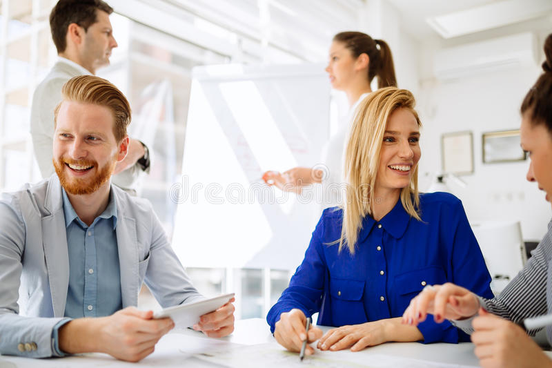 Business people having a board meeting royalty free stock photos