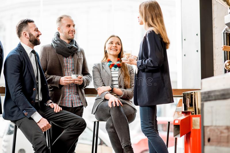 Business people during the coffee break stock image