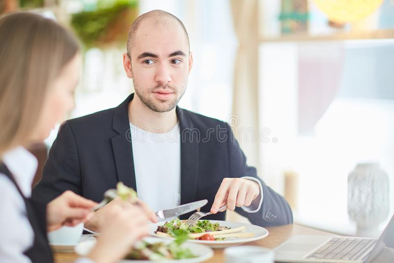 Business people having dinner stock photo