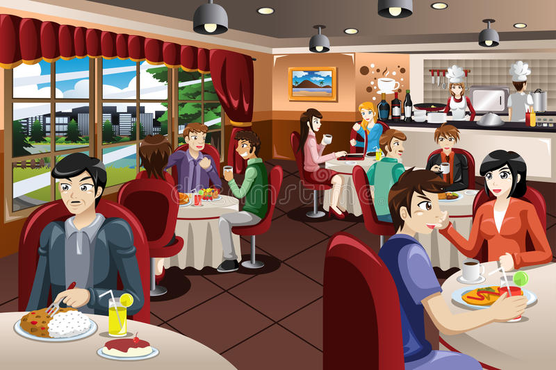 Business People Having Lunch Together stock illustration