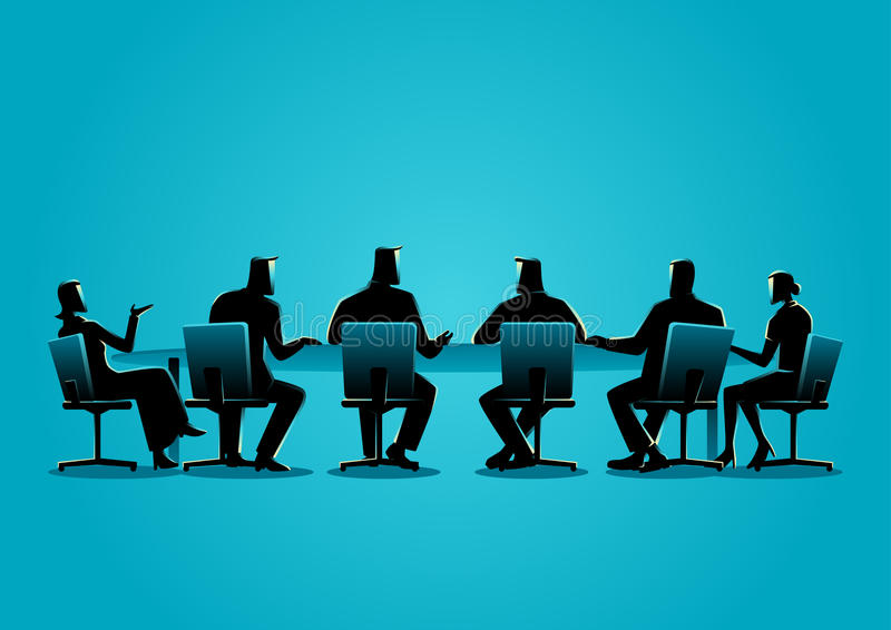 Business people having a meeting stock illustration