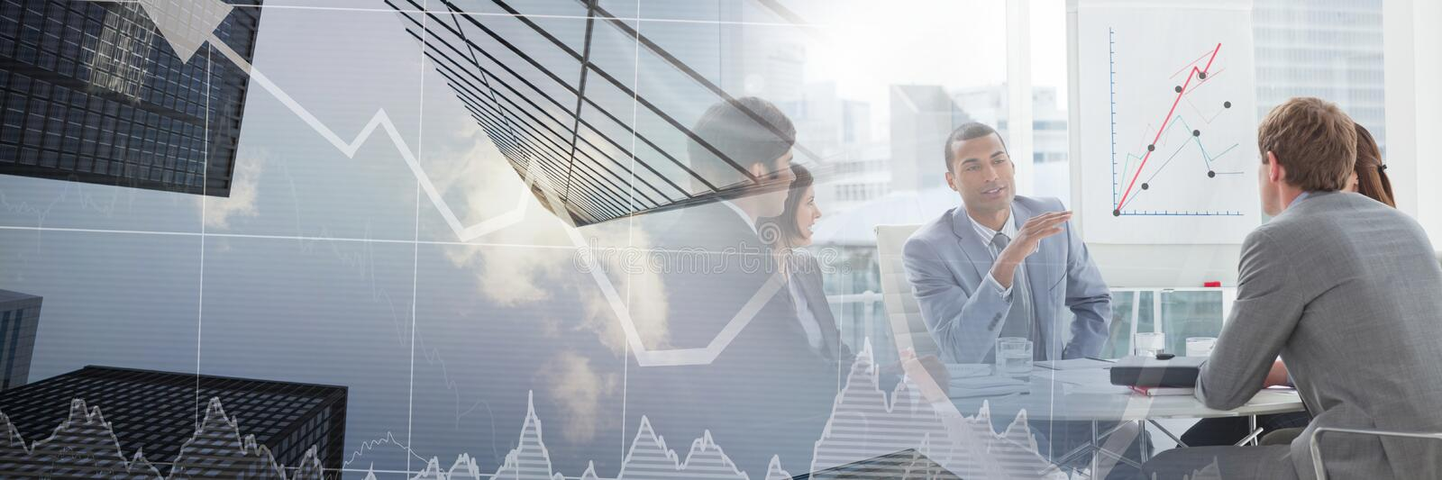 Business people having a meeting with financial charts transition effect stock image
