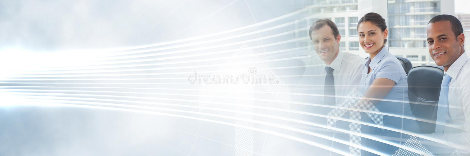 Business people having a meeting with illuminated curved lines transition effect. Digital composite of Business people having a meeting with illuminated curved stock image