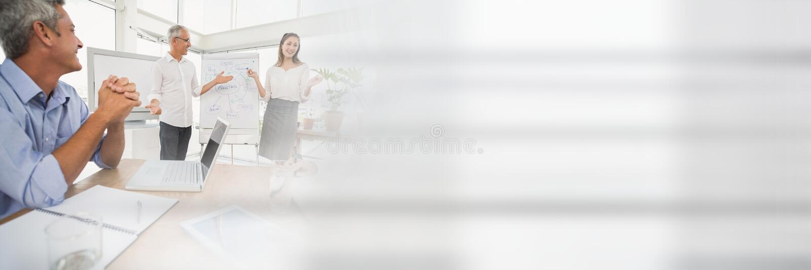 Business people having a meeting with transition effect stock photos