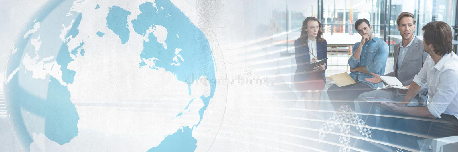 Business people having a meeting with world global transition effect. Digital composite of Business people having a meeting with world global transition effect stock photos