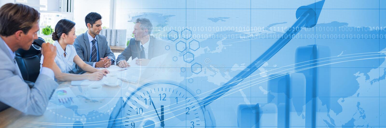 Business people having a meeting with world time transition effect stock photography
