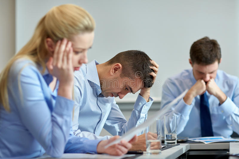 Business people having problem in office stock images