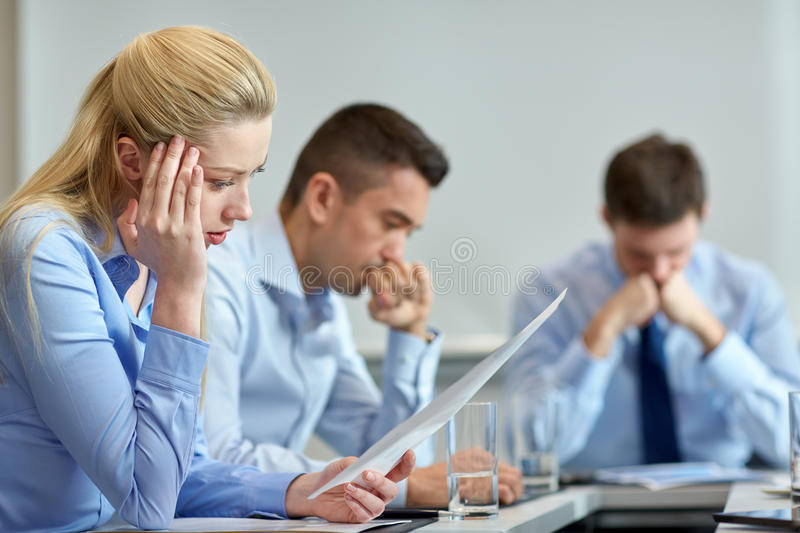 Business people having problem in office stock photos