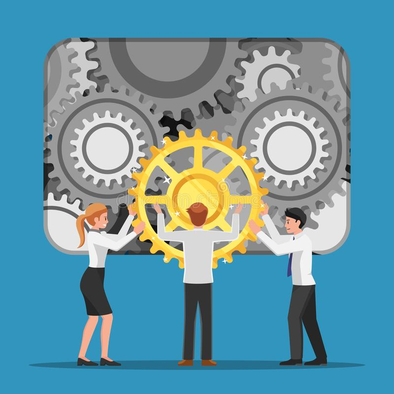 Business people help each other to assembling last piece of cogwheel. Teamwork concept stock illustration